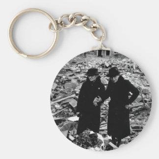 Two bewildered old ladies stand_War Image Basic Round Button Key Ring