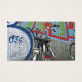 Two Bicycles and a Graffiti Wall Small Photo Card