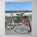 Two bikes on boardwalk Jersey Shore Poster