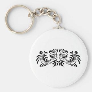 Two Bird Black and White Design Key Chain