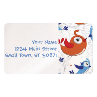 Two Bird Lovers Orange and Blue  Pattern Double-Sided Standard Business Cards (Pack Of 100)