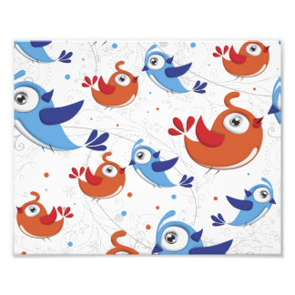 Two Bird Lovers Orange and Blue  Pattern Photo Print