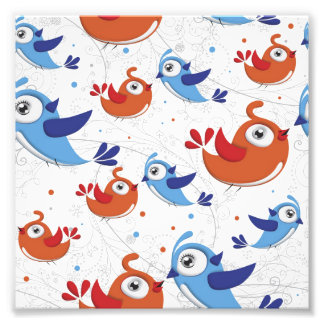 Two Bird Lovers Orange and Blue  Pattern Photograph