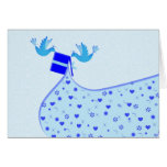 Two Birds Carrying a Gift, personalise it Greeting Card