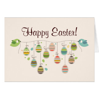 Two Birds Hold Rope with Easter Eggs Card