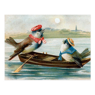 Two Birds in a Boat Postcard