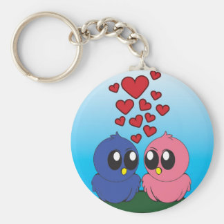 Two birds in love basic round button key ring