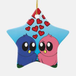 Two birds in love ceramic star decoration