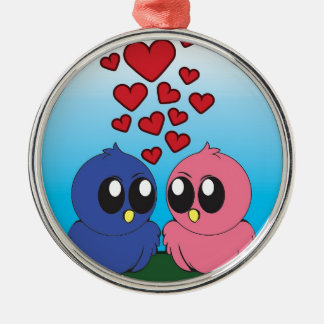Two birds in love Silver-Colored round decoration