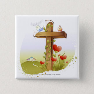 Two birds perching on a cross 15 cm square badge