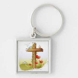 Two birds perching on a cross Silver-Colored square key ring
