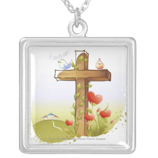 Two birds perching on a cross silver plated necklace