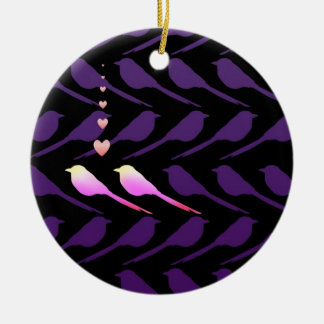 Two birds round ceramic decoration