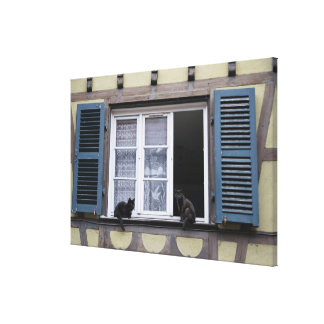Two Black Cats at Window Canvas Print