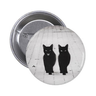 Two Black Cats button pin