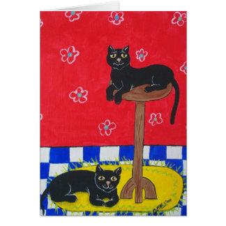 Two Black Cats Card