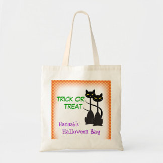 Two Black Cats Personalized Trick or Treat Tote Bag