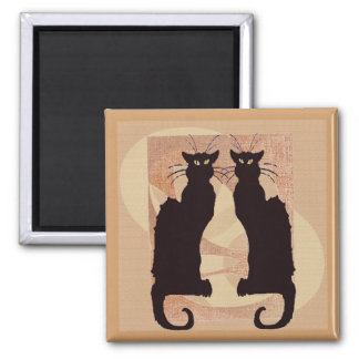 Two Black Cats Square Magnet