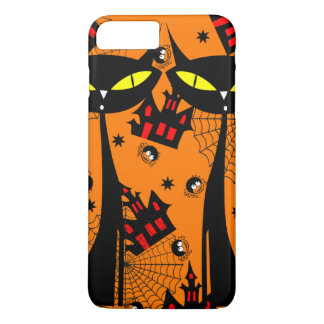 Two Black Cats with Evil Eyes iPhone 7 Plus Case