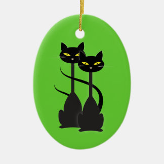 Two Black Cats with Long Necks on Green Christmas Ornament