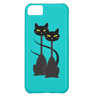 Two Black Cats with Long Necks on Teal iPhone 5C Case