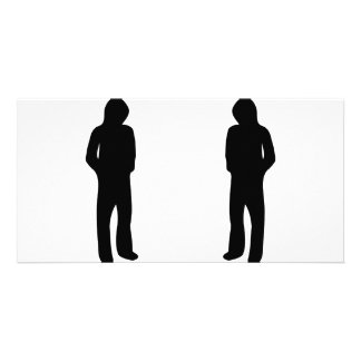 two black cool guys icon photo greeting card