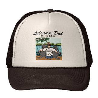 Two Black Labradors and Dad Cap