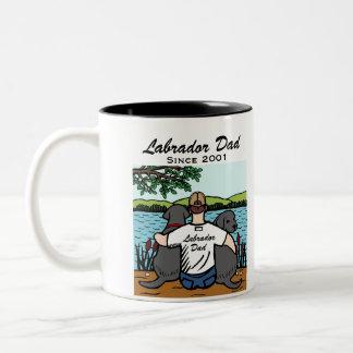 Two Black Labradors and Dad Two-Tone Coffee Mug