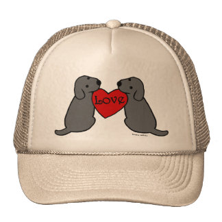 Two Black Labradors with Love Cartoon Mesh Hats