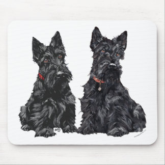 Two Black Scottish Terriers Mouse Mat