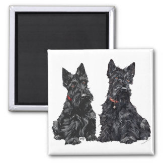 Two Black Scottish Terriers Square Magnet