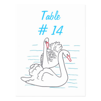 Two Black Swans Drawing Table Number Postcards
