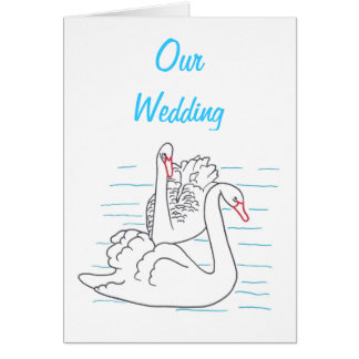 Two Black Swans Drawing Wedding Invitation Cards