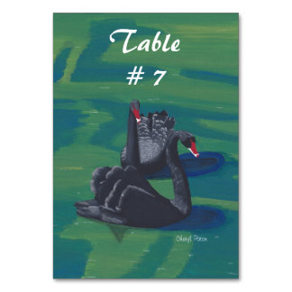 Two Black Swans Swimming Table Number Tablecards Table Cards