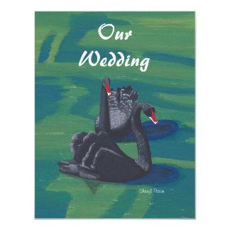 Two Black Swans Swimming Wedding Invitations