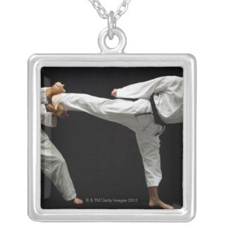 Two Blackbelts Sparring 2 Square Pendant Necklace