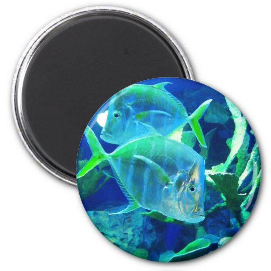 Two Blue and Turquoise Tropical Fish 6 Cm Round Magnet