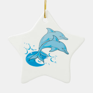 Two Blue Bottlenose Dolphins Jumping Out of Water Christmas Ornament