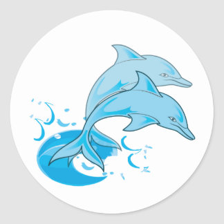 Two Blue Bottlenose Dolphins Jumping Out of Water Round Sticker