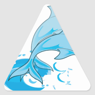 Two Blue Bottlenose Dolphins Jumping Out of Water Triangle Sticker