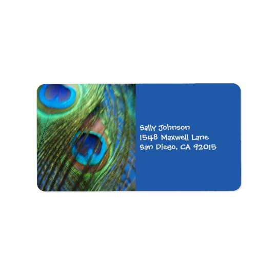 Two Blue Peacock Feathers Label
