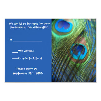 Two Blue Peacock Feathers RSVP 9 Cm X 13 Cm Invitation Card