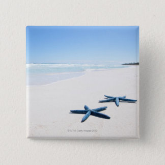Two blue starfish at water's edge on tropical 2 15 cm square badge