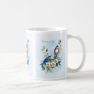 Two Bluebirds Basic White Mug