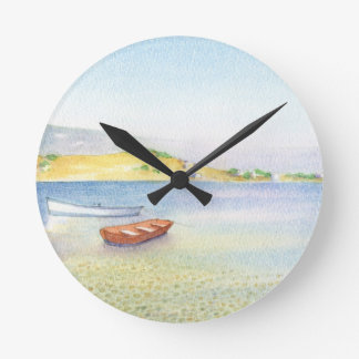 Two boats inn Greece Round Clock