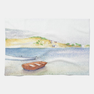 Two boats inn Greece Tea Towel