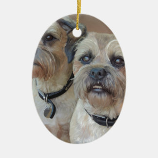Two Border terriers Ceramic Oval Decoration