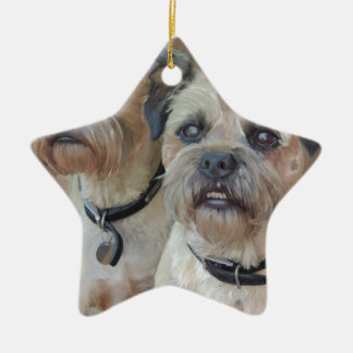 Two Border terriers Ceramic Star Decoration
