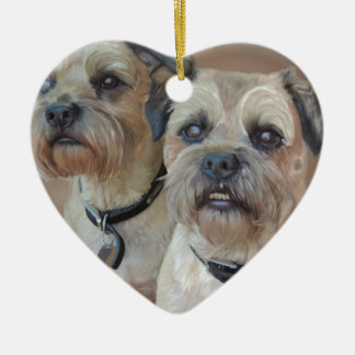 Two Border terriers Christmas Ornament