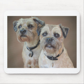 Two Border terriers Mouse Pad